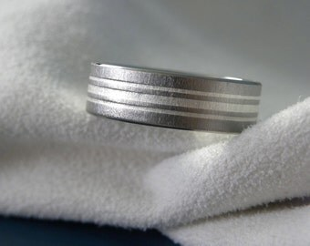 Titanium Silver Inlay Stripes Ring Wedding Band Frosted Finish