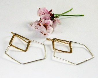 MIXED METALS - Sterling Silver Hexagons on hammered 14K Gold-filled marquee and 14K gold-filled ear wires