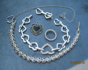Valentine Day Sale Vintage Sterling Silver Heart Necklace Bracelet Pendant Lot