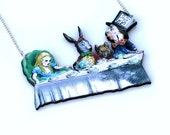Alice In Wonderland Mad Hatters Tea Party Necklace Tenniel Illustration, Wood Jewelry