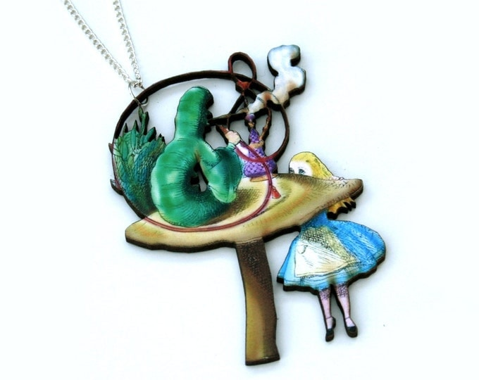 Alice In Wonderland Caterpillar Necklace Tenniel Illustration, Wood Jewelry