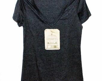Bird + Birdcage Women's Tshirt, Print Tshirt, Vneck Tshirt, Appliqued Tshirt, Free Bird Tshirt, Woodland Tshirt,  Vintage Style Tshirt