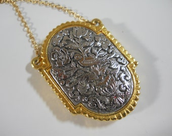 Locket Necklace Vintage Perfume Locket Embossed Silver Metal with Ornate Gold Beaded Border 1970's Max Factor Collectors Statement Jewelry