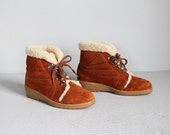 1970s rust suede lace up winter shearling ankle boots / 6 1/2 - 7