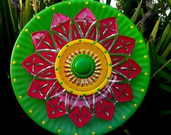 Petite Mini Hand Painted Glass Garden Flower Plate Sculpture