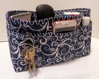 Quilted Purse Organizer Insert With Enclosed Bottom Large - Navy and White