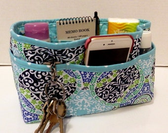 "Purse Organizer Insert/Enclosed Bottom  4"" Depth/ Shades of Blue"