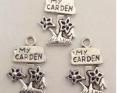 5 My Garden Flower and Sign Charms - Antique Silver - SC157 #GO
