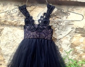 Victorian Black flower girl dress French lace and silk tulle dress