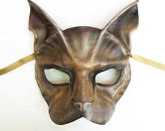 Cat Leather Mask  house cat grey brown black mix kitty animal costume detail painting