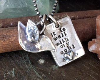 It is well with my Soul and stamped sterling silver faith necklace... ready to ship