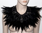 Gatsby glamour red carpet silver black feathered hand beaded statement bib collar Necklace high fashion formal evening couture