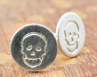 Skull Studs in Sterling Silver