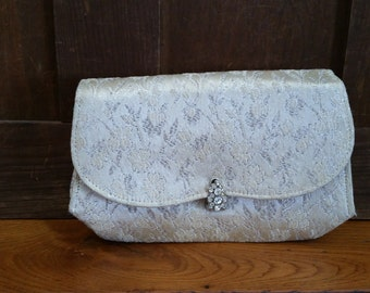 Vintage Silver Brocade Clutch Purse Rhinestone Clasp by Paris