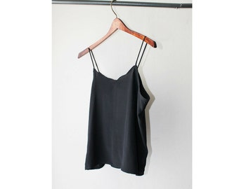 1980's Scallope Sheer Black Camisole