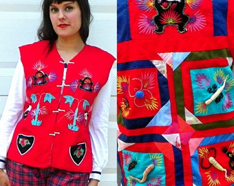 SALE Red Kitsch Asian Vest with Frogs Worms Pandas Embroidery Applique Quilted Vest Bug Vest Animal Vest Red Patchwork Vest Size Medium