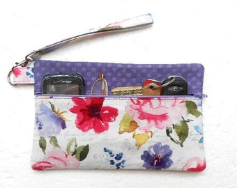Purple Cell Phone Wristlet, Small Zipper Bag, Floral Wallet With Strap, Ladies Small Purse, Front Zippered Clutch, Makeup or Camera Bag