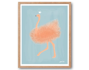 Nursery Wall art, Ostrich Art Print, Bird Prints, Bird Illustration, Watercolor Print, Children room decor, Kids Room decor