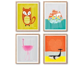 Woodland animal decor, Fox Print, Polar Bears, Whale, Flamingo, Art print, PRINT SET, Baby nursery decor, Animal art print, Animal wall art