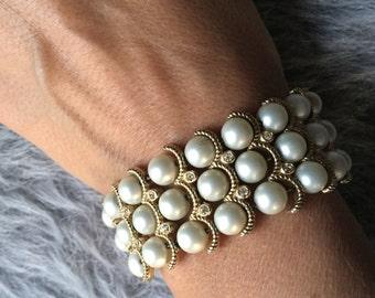 Vintage Costume Faux Pearl and Rhinestone Cuff Bracelet