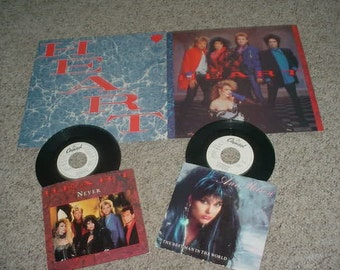 HEART  Ann wilson lot 2 record flats  2 promo 45 rpm records