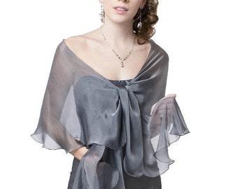 Promo Sale Silver Grey Silk Fluttering Scarf/ Wrap