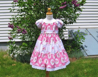 Pink roses, toddler girl, peasant dress, tiered, twirly, size 4T, Easter dress, ready to ship, party dress, valentine, birthday, photo prop