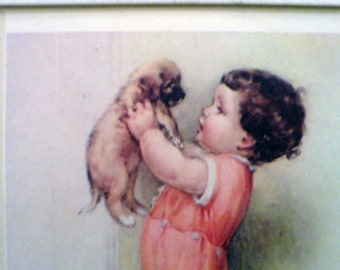 """Bessie Pease Gutman Litho Print, """"Mine"""", Child with Puppy, 1985 by Portal Publications"""