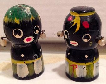 Vintage Salt & Pepper Shakers, Black Natives, Painted Wood