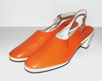 1960s shoes / vintage 60s heels / Slingback High Heels / 10 Narrow / Orange and White Slingback High Heels