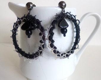 Black hoop earrings, bohemian, gypsy, Coachella, statement earrings, romantic, statement, hoop, up cycled, wearable textile art