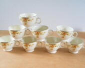 Vintage Tea Cups • Orange Snowball Flower • Taylor Smith and Taylor China • Set of 8