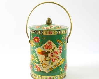 Vintage Candy Tin • Murray Allen Made in England • Green and Gold with Handle • Hummingbird
