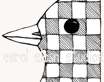 Illustrated Bird with Checkerboard Pattern