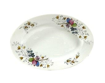 1900s Serving Platter, Vibrant Pink, Blue & Green Foliage Pattern, Antique Elegance