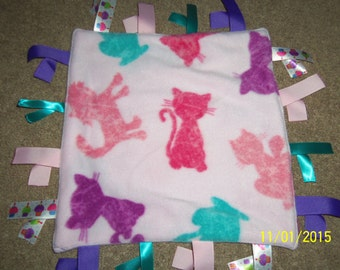 Homemade Fleece Ribbon Blanket, Cats on Pink