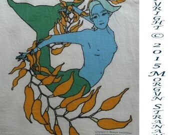 Mermaid with Kelp flour sack kitchen towel (digitally printed)