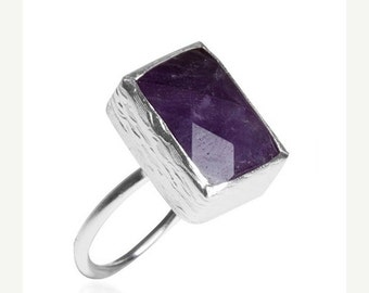 30% Fall Sale Rectangle Amethyst Silver Ring