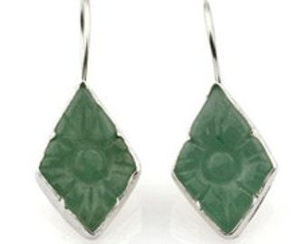 Green Jade Carved Earrings