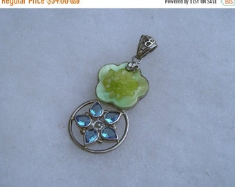SALE Sterling Silver 925 Blue Topaz & Mother of Pearl Flower Pendant