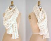 Vintage Ivory Crochet Open Work Large Winter Scarf