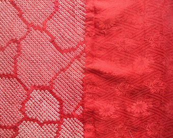 Half Shibori Red Abstract