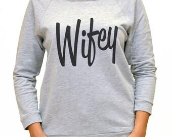Wifey Shirt - Grey Wifey Shirt -Wifey Sweatshirt - Wifey Slouchy Sweatshirt - Wifey Off the Shoulder Sweater - Womens Sweater - Wedding Gift