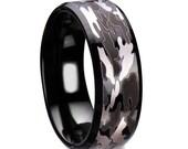 Men's Wedding Band, Black Tungsten Camo Wedding Ring for Men