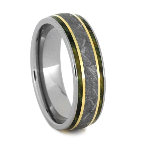 meteorite wedding band with 14k gold stripes by jewelrybyjohan