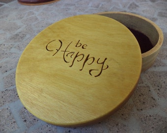 "Inspirational words jewelry box ""Be happy"""