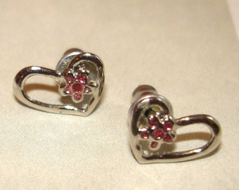 adorable vintage silver heart and amethyst flower pierced earrings