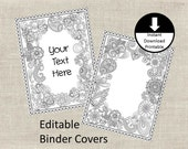 Binder Covers Insert Doodle Color Page Adult Color Page School Student Teacher Editable Binder Cover Printable Set of 2 Floral Paisley