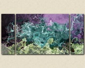 "Abstract art, large 30x60 to 40x78 triptych gallery wrap giclee canvas print, in purple and aqua from abstract painting ""Balleto"""