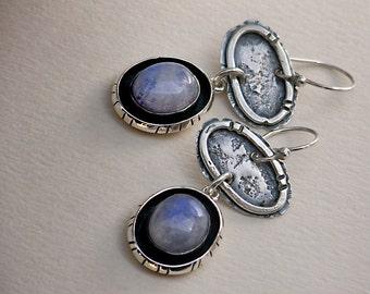 Shadowbox Blue Rainbow Moonstones & Rustic Sterling Silver Dangle Earrings . Tribal Wabi Sabi Southwestern Boho Jewelry